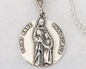 Necklace - Saintes Anne and Mary 18mm - Sterling Silver + 18 Inch Italian Sterling Silver Chain