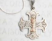 Necklace - Antique 1st Holy Communion dated 1886 - Sterling Silver + 18 inch Sterling Silver Chain