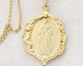 Necklace - Divine Mercy / Jesus I Trust In You! 21x30mm - 18 K Gold Vermeil + 18 inch 18K Gold Vermeil Chain
