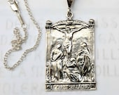 Necklace - Le Christ Sur La Croix - Sterling Silver - 28x43mm + 18 inch Sterling Silver Chain