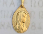 Necklace - Blessed Mother / Our Lady of Lourdes 14x21mm - 18K Gold Vermeil + 18 inch Gold Vermeil Chain