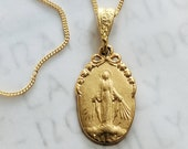 Necklace - Small Miraculous Medal 12.5x20mm - 18K Gold Vermeil + 18 Inch Italian 18K Gold Vermeil Chain