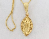Necklace - Tiny Mary Magdalene Carried by Angels - 10x17mm - 18K Gold Vermeil + 18 Inch Italian 18K Gold Vermeil Chain