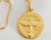 Necklace - Holy Spirit 18K Gold Vermeil 17.5mm + 18 Inch Italian 18K Gold Vermeil Chain