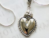 Necklace - Sacred Heart of Jesus 18x27mm - Sterling Siilver + 18 Inch Sterling Silver Chain