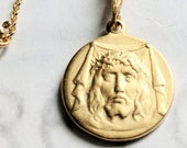 Necklace - Holy Face of Jesus 17.5mm - 18K Gold Vermeil + 18 Inch Italian 18K Gold Vermeil Chain