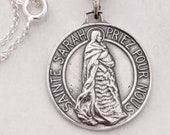 Necklace - Sainte Sarah & Saintes Maries Sterling Silver 23mm + 18 inch Italian Sterling Silver Chain