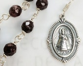 Chaplet - Infant Jesus of Prague 17x25mm Genuine Garnet - Sterling Silver