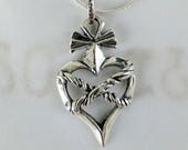 Necklace - Roped Heart of an Apostle - Sterling Silver - 23x36mm