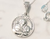 Necklace - Tiny St John the Apostle 15mm - Sterling Silver + 18 Inch Italian Sterling Silver Chain