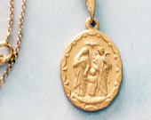 Medal - Holy Family of Nazareth 18x27mm - 18K Gold Vermeil + 18 Inch Italian 18K Gold Vermeil Chain
