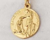 Medal - Saint Roch 18mm Patron Saint of Epidemics, Dogs & Dog Lovers - 18K Gold Vermeil