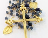Rosary - Sri Lanka Sapphire + African Sodalite St Mary Magdalene - 18K Gold Vermeil + Miraculous Medal