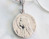 Necklace - Mary of Magdala & Alabaster Jar 15mm - Sterling Silver + 18 Inch Italian Sterling Silver Snake Chain