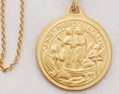 Necklace - Saintes Maries & Sainte Sarah 23mm - 18K Gold Vermeil + 18 Inch Italian 18K Gold Vermeil Chain