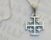 Necklace - Jerusalem Cross - Sterling Silver - 14x16mm + 18 inch Sterling Silver Italian Chain