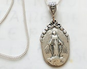 Necklace - Small Miraculous Medal 12.5x20mm - Sterling Silver + 18 Inch Italian Sterling Silver Chain