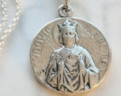 Necklace - Saint Louis - King Louis IX and Crown of Thorns 21mm - Sterling Silver + 18 Inch Italian Sterling Silver Chain