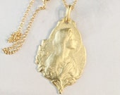 Necklace - Blessed Virgin Mary 18x22mm - 18K Gold Vermeil + 18 inch Italian 18K Gold Vermeil Chain