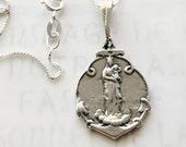 "Necklace - Notre Dame de la Garde - Sterling Silver - 19x25mm + 18"" Italian Sterling Silver Chain"