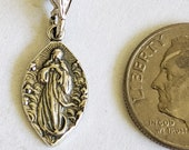 Medal - Tiny Mary Magdalene Carried by Angels - 10x17mm - Sterling Silver