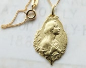 Necklace - Blessed Virgin Mary 18K Gold Vermeil Medal - 18x22mm + 18 Inch Italian 18K Gold Vermeil Chain