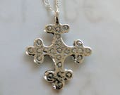Necklace - Crusader Cross 29x36mm - Sterling Silver + 18 Inch Sterling Silver Chain