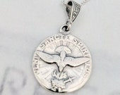 Necklace - Holy Spirit Sterling Silver 18mm + 18 inch Italian Sterling Silver Box Chain