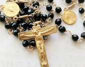 Rosary - Black Onyx Mary of Magdala with Jesus Center - 18K Gold Vermeil