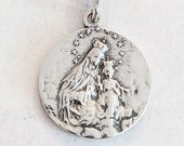 Medal - Our Lady of Mount Carmel / Sacred Heart of Jesus 20mm - Sterling Silver