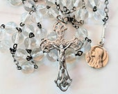 Rosary - Antique French Crystal with Mary of Magdala Medal - Sterling Silver