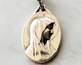 Medal - Blessed Virgin Mary / Lourdes 14x21mm - Sterling Silver