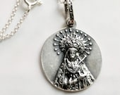 Necklace - Our Lady of Sorrows SPAIN - Sterling Silver 20.5mm + 18 inch Italian Sterling Silver Chain