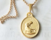 Necklace - Sainte Magdeleine medal w/ Crucifix on Back 20x28.5mm - 18K Gold Vermeil + 18 Inch 18K Gold Vermeil Italian Chain
