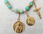Bracelet - St Louis, Mary of Magdala & Crucifix - Amazonite - 18K Gold Vermeil