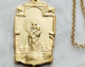 Necklace - Our Lady of the Pillar 24x43mm - 18K Gold Vermeil + 18 Inch Italian 18K Gold Vermeil Chain