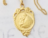 Necklace - St Anthony of Padua 19x30mm - 18K Gold Vermeil + 18 Inch Italian 18K Gold Vermeil Chain