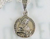 Necklace - St John the Baptist Sterling Silver 15mm + 18 inch Sterling Silver Chain