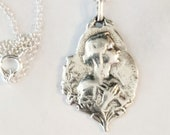 Necklace - Blessed Virgin Mary Sterling Silver 18x22mm + 18 Inch Italian Sterling Silver Chain
