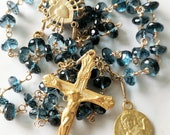 Rosary - London Blue Topaz Guardian Angel Rosary - 18K Gold Vermeil
