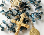 Rosary - London Blue Topaz Guardian Angel Rosary - 18K Gold Vermeil