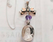 Necklace - Antique Sainte Thérèse Bow & Amethyst - Sterling Silver