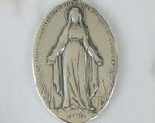 Medal - French Miraculous Medal Sterling Silver - 21x33mm