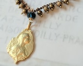 Bracelet - Blessed Virgin Mary 18K Gold Vermeil - Genuine London Blue Topaz + Parisian Chain