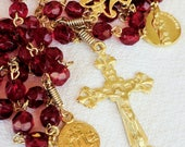 Rosary - Red French Crystal - Marie Madeleine & Saintes Maries - 18K Gold Vermeil