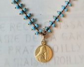 Bracelet - Tiny Mary Magdalene Medal with Baby Blue Parisian Chain - 18K Gold Vermeil