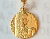 Medal - Mary of Magdala & Her Alabaster Jar - 18K Gold Vermeil Medal - 18mm