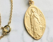 Necklace - Our Lady of the Rosary / Lourdes 16x28mm - 18K Gold Vermeil + 18 Inch Italian 18K Gold Vermeil Chain