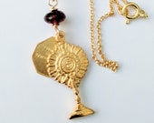 Necklace - Eucharist & St Mary Magdalene 18K Gold Vermeil Genuine Garnet + 18 Inch Italian 18K Gold Vermeil Chain