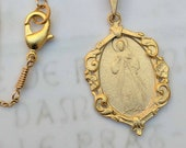 Necklace - Divine Mercy / Jesus I Trust In You! - 18K Gold Vermeil - 21x30mm + 18 inch 18K Gold Vermeil Chain